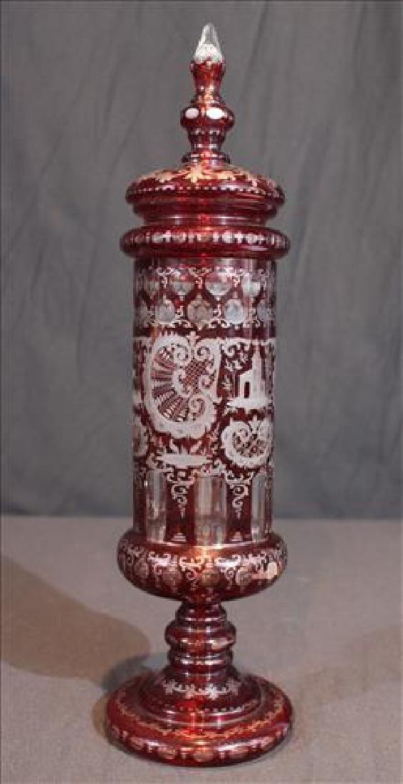 Bohemian cut to clear caped urn, 17  in. T.