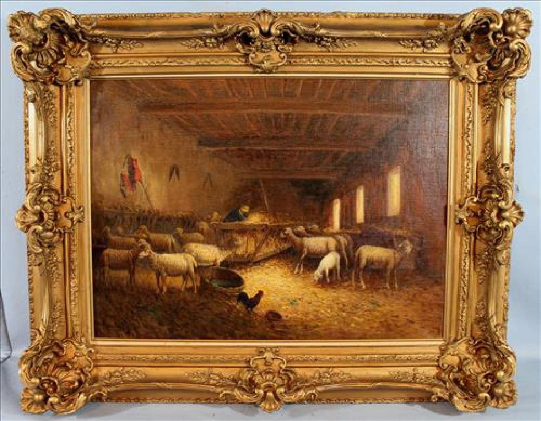 19th Century oil on canvas of sheep and barn scene