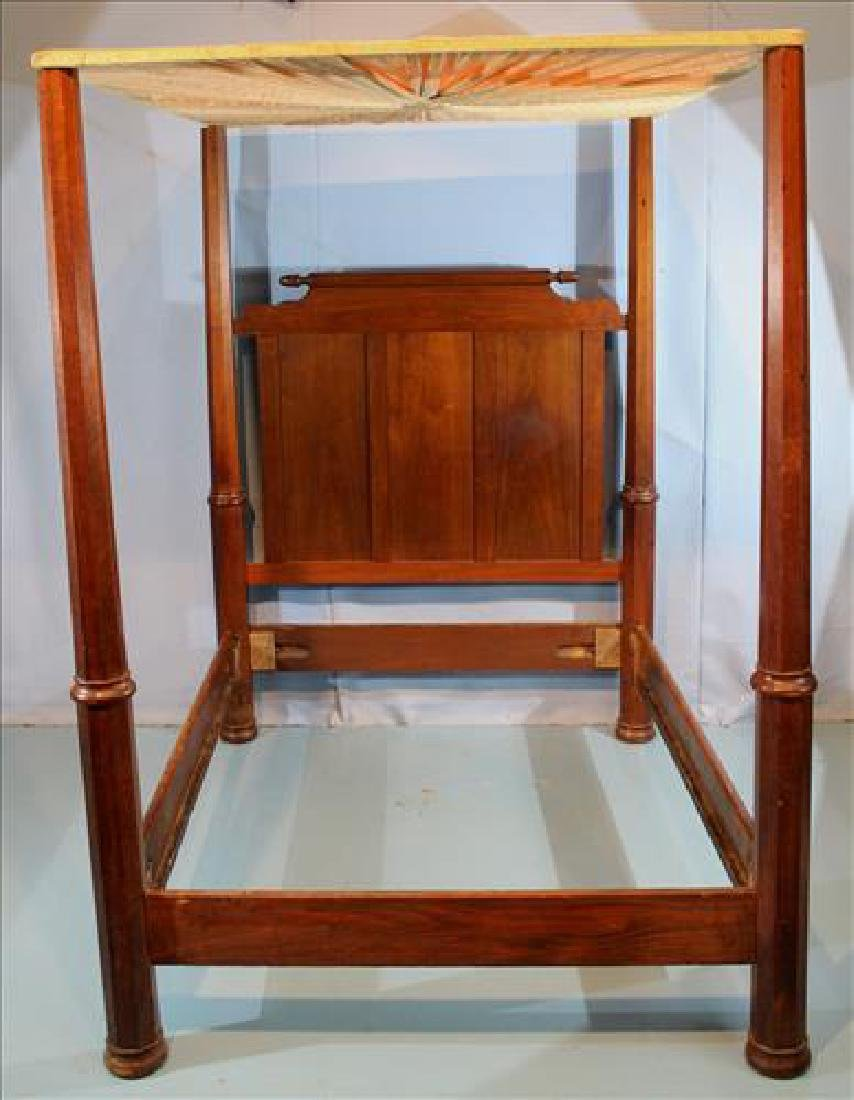 Walnut Victorian 4 poster bed with canopy top