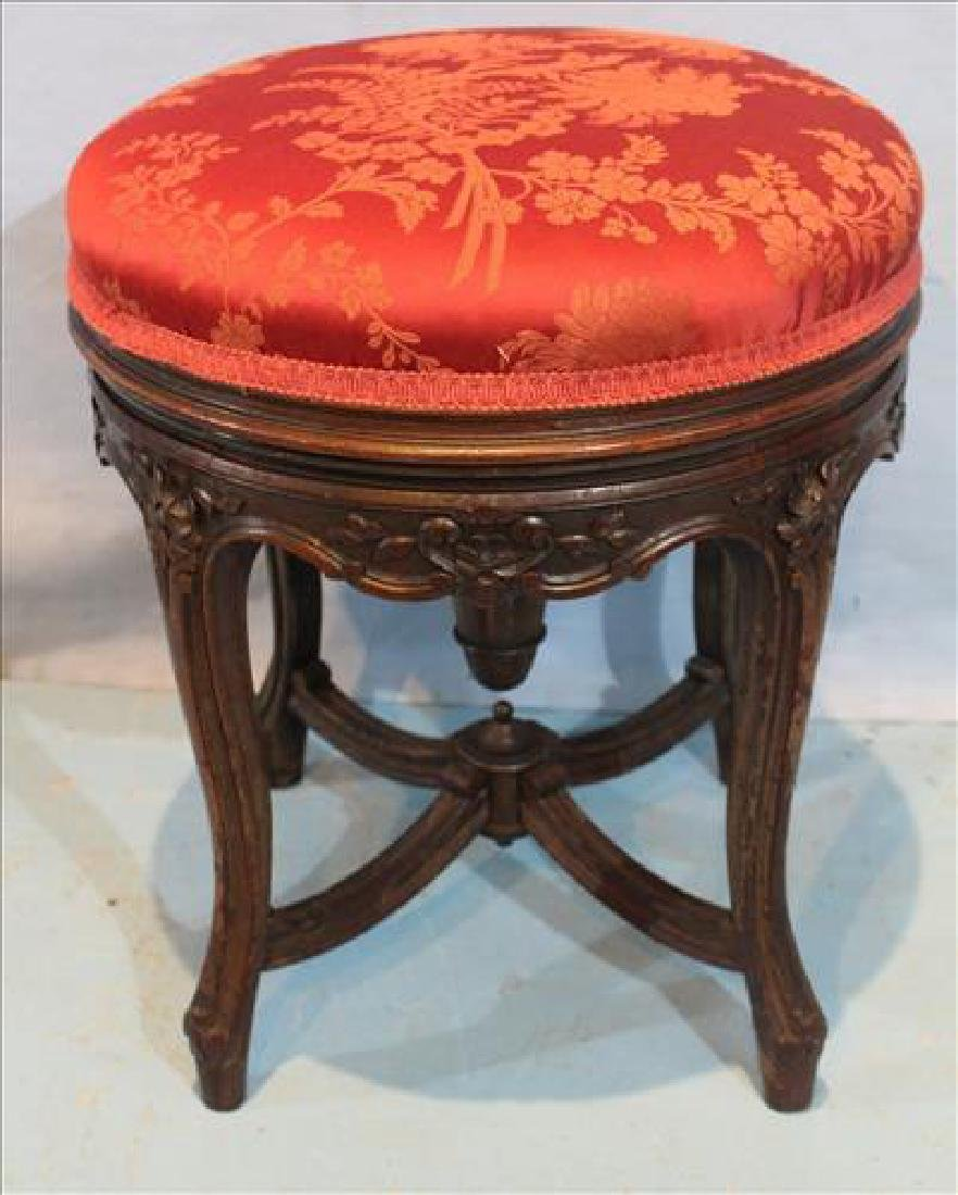 Rosewood rococo swivel piano stool with red upholstery