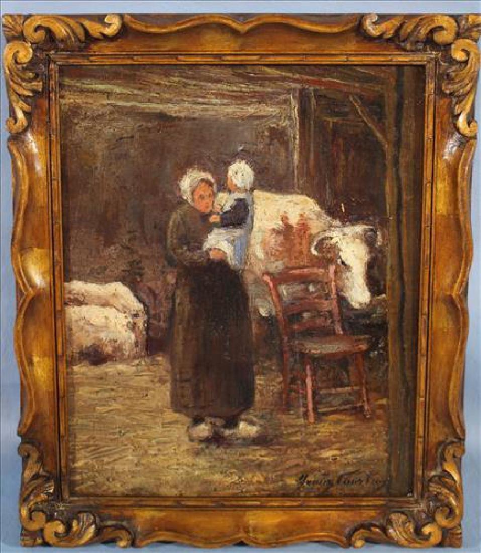 Small oil  on board of 19th Century Dutch lady in barn