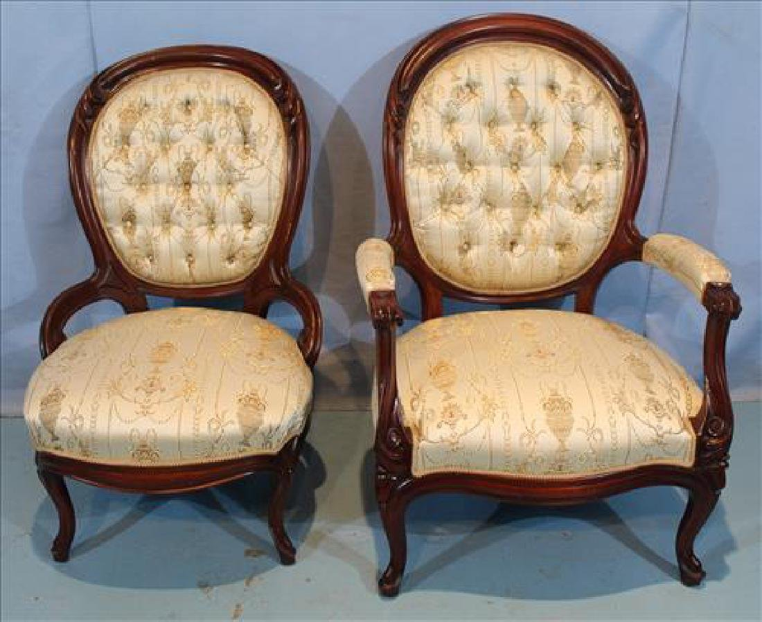 Pair Walnut Victorian parlor chairs, ladies and gents