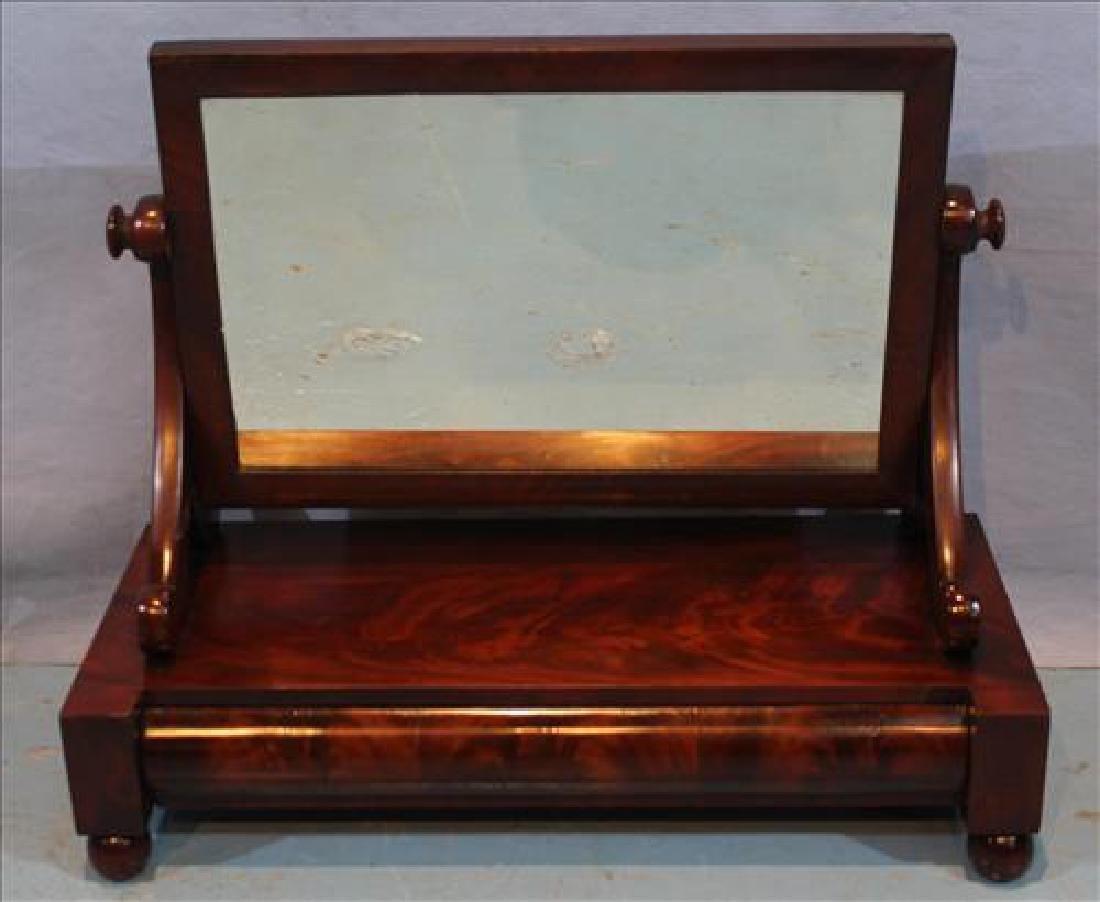 Mahogany Empire shaving mirror with drawer