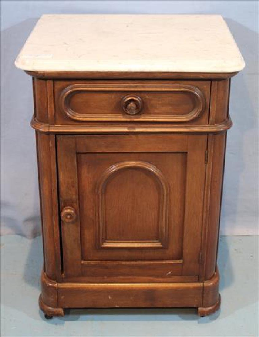 Walnut Victorian half commode with white marble
