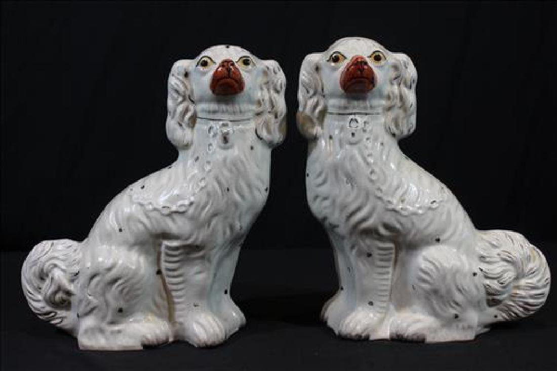 Pair large Staffordshire dogs, 12 in. T, 12 in W,