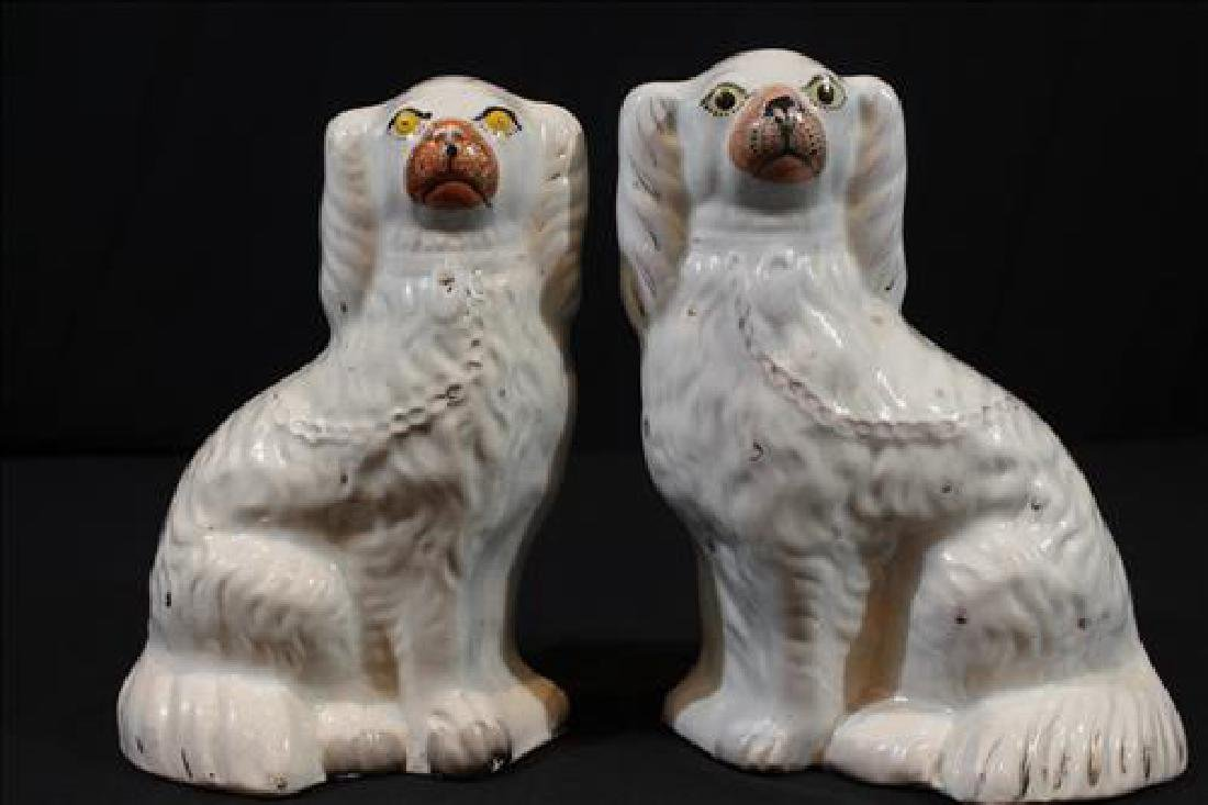 Large pair of white Staffordshire spaniels