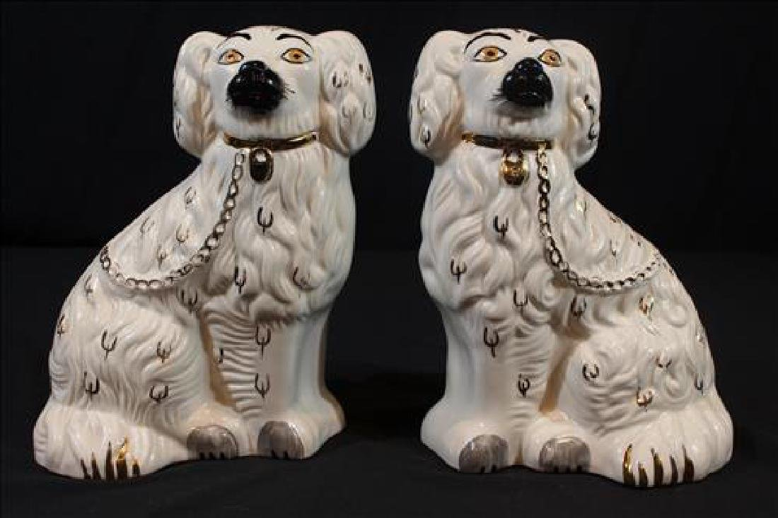 Pair Staffordshire dogs, 10 in. T, 7 in. W.