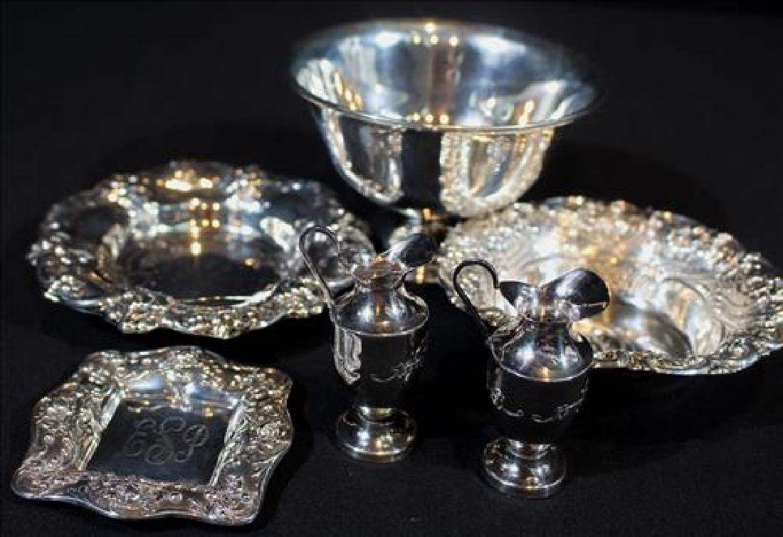 6 pieces small sterling silver serving pieces