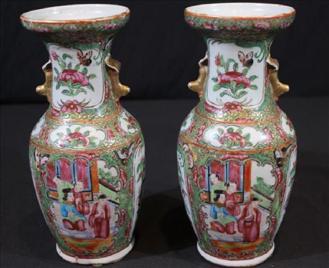 Pair rose medallion vases, 9.5in. T, 4 in Dia.