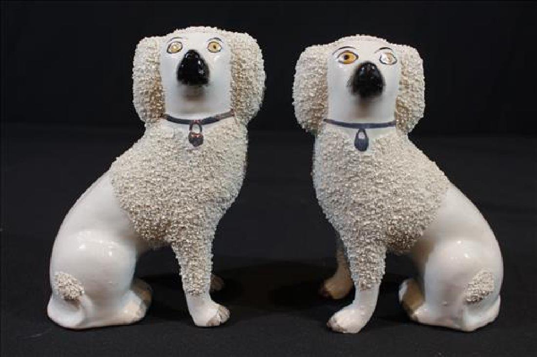 Pair Staffordshire poodles, 7 in. T, 5 in. W.