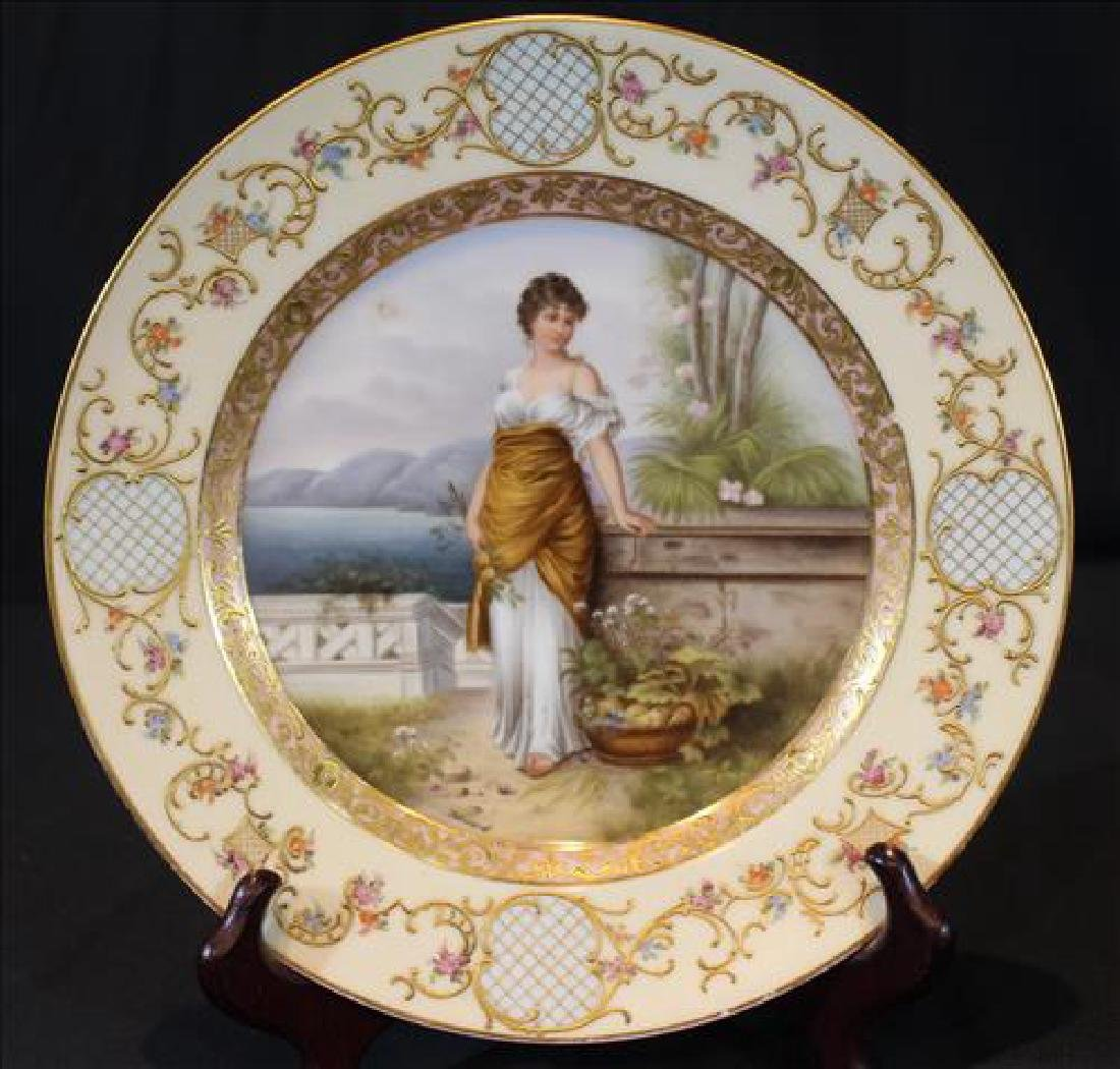 Royal Vienna plate with bee hive mark, 9.5 in. R.