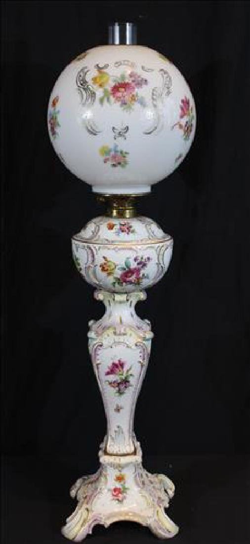 Dresden hand painted oil banquet lamp, still oil, 35