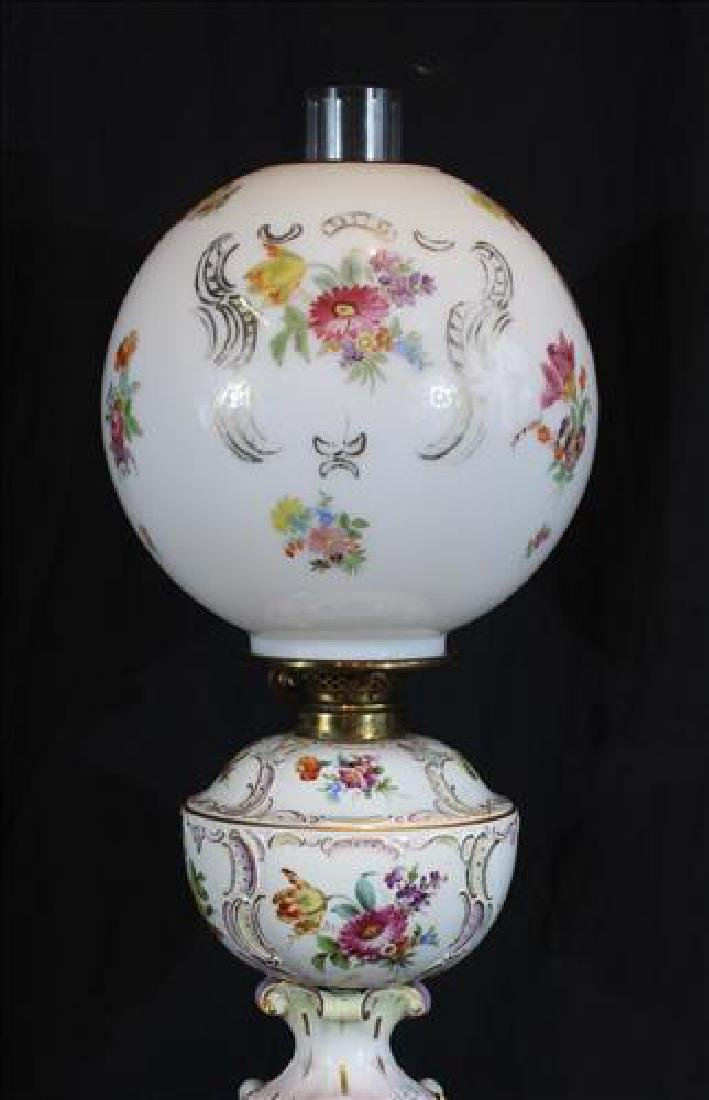 Dresden hand painted oil banquet lamp, still oil, 35 - 2