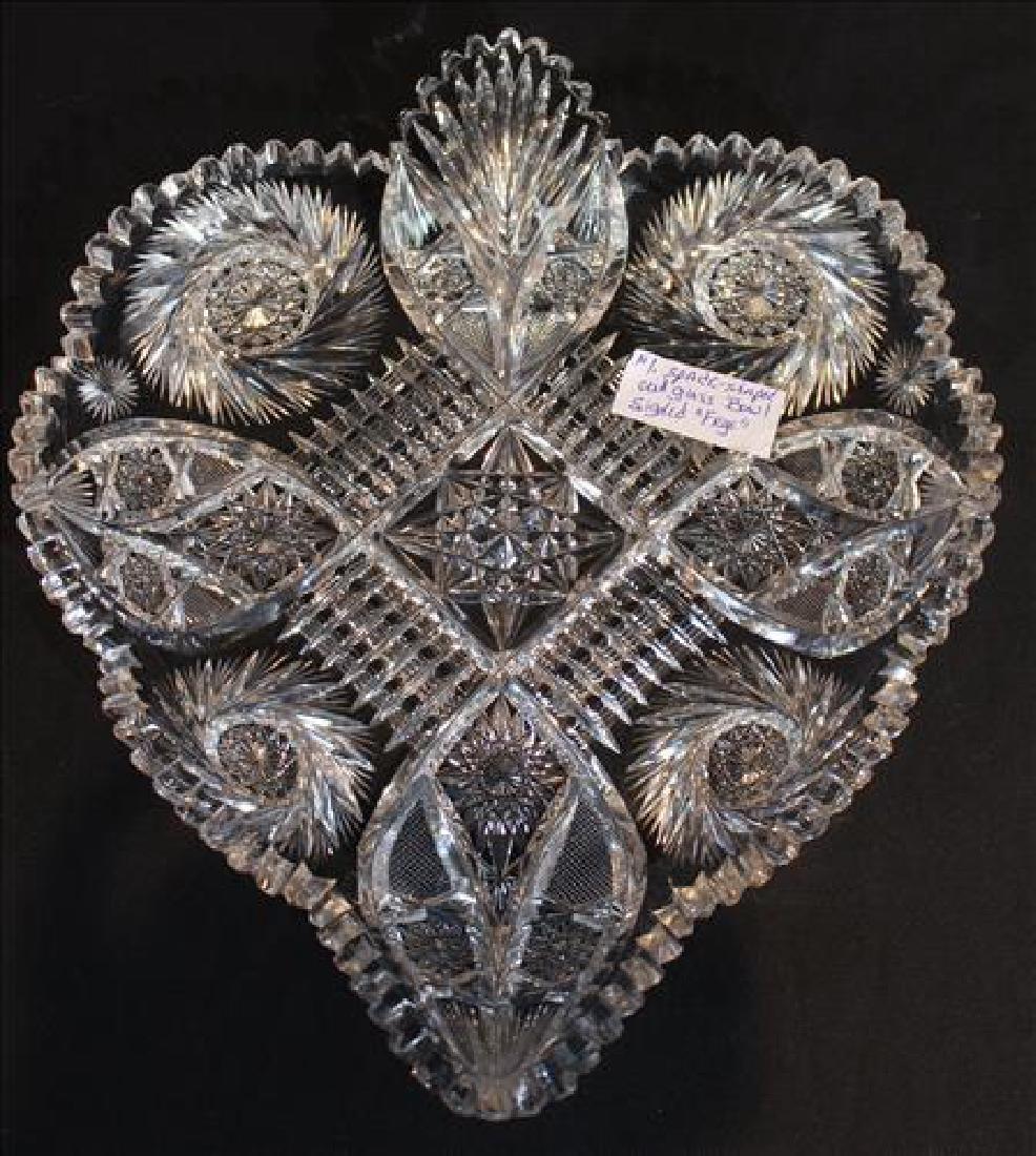 Spade shape cut glass bowl signed Frye, 12 in. W, 13