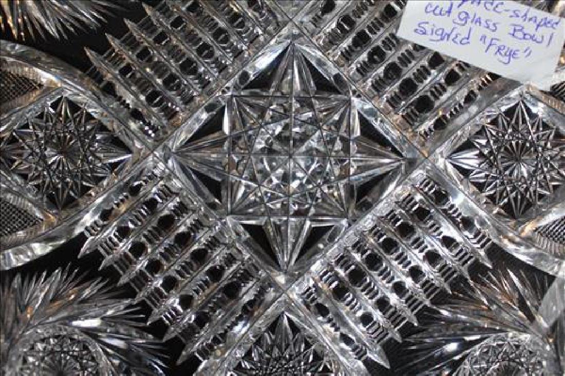Spade shape cut glass bowl signed Frye, 12 in. W, 13 - 2