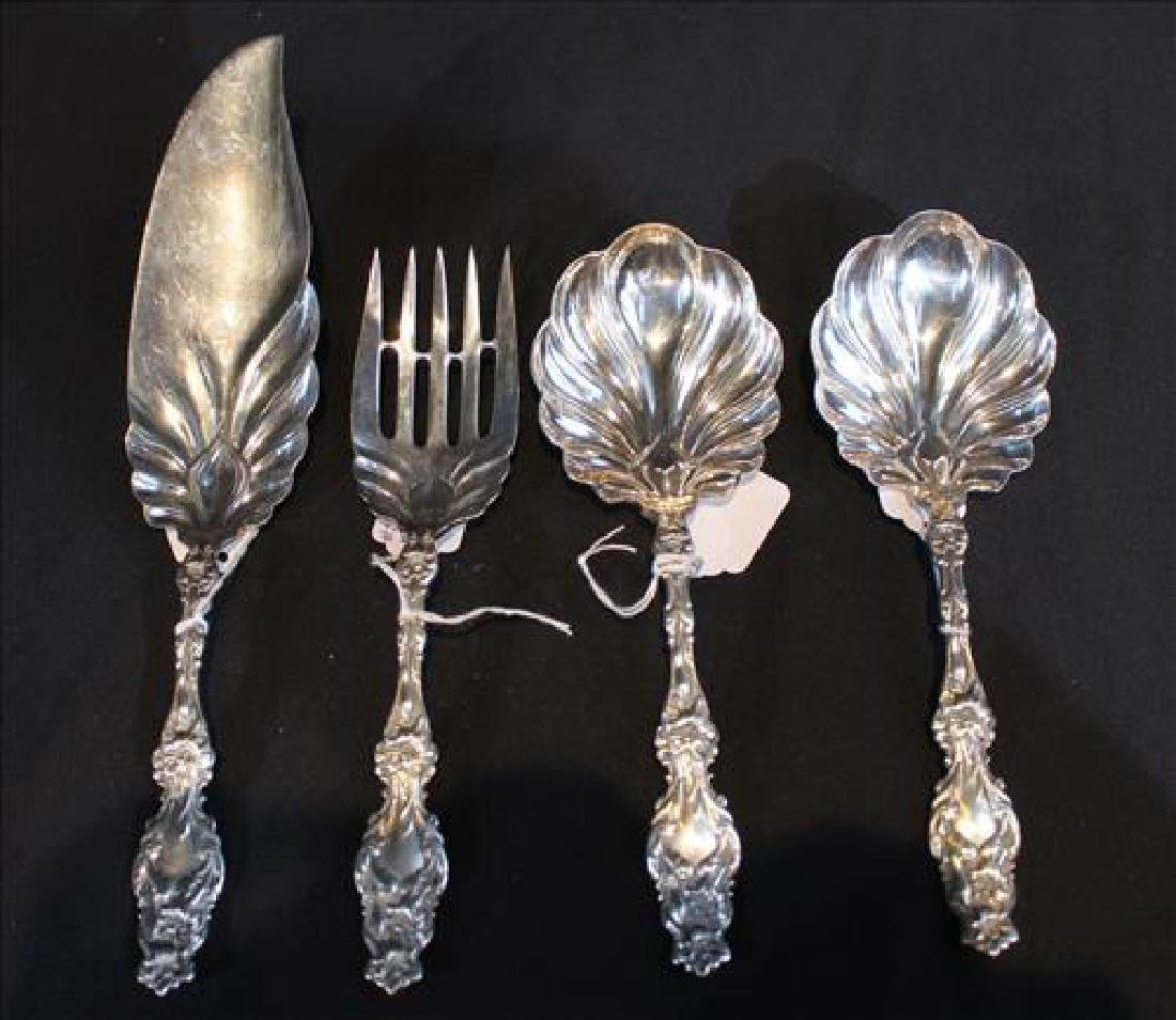 4 Lilly pattern sterling silver serving pieces