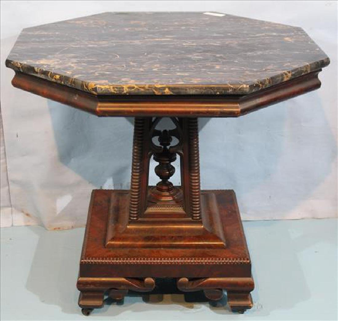 Center table with black and gold marble, birdcage base