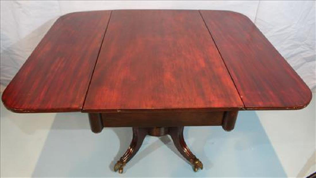 Mahogany drop leaf supper table with brass ram feet - 4