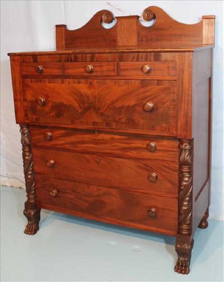 Period Federal 7 drawer chest with backsplash - 4