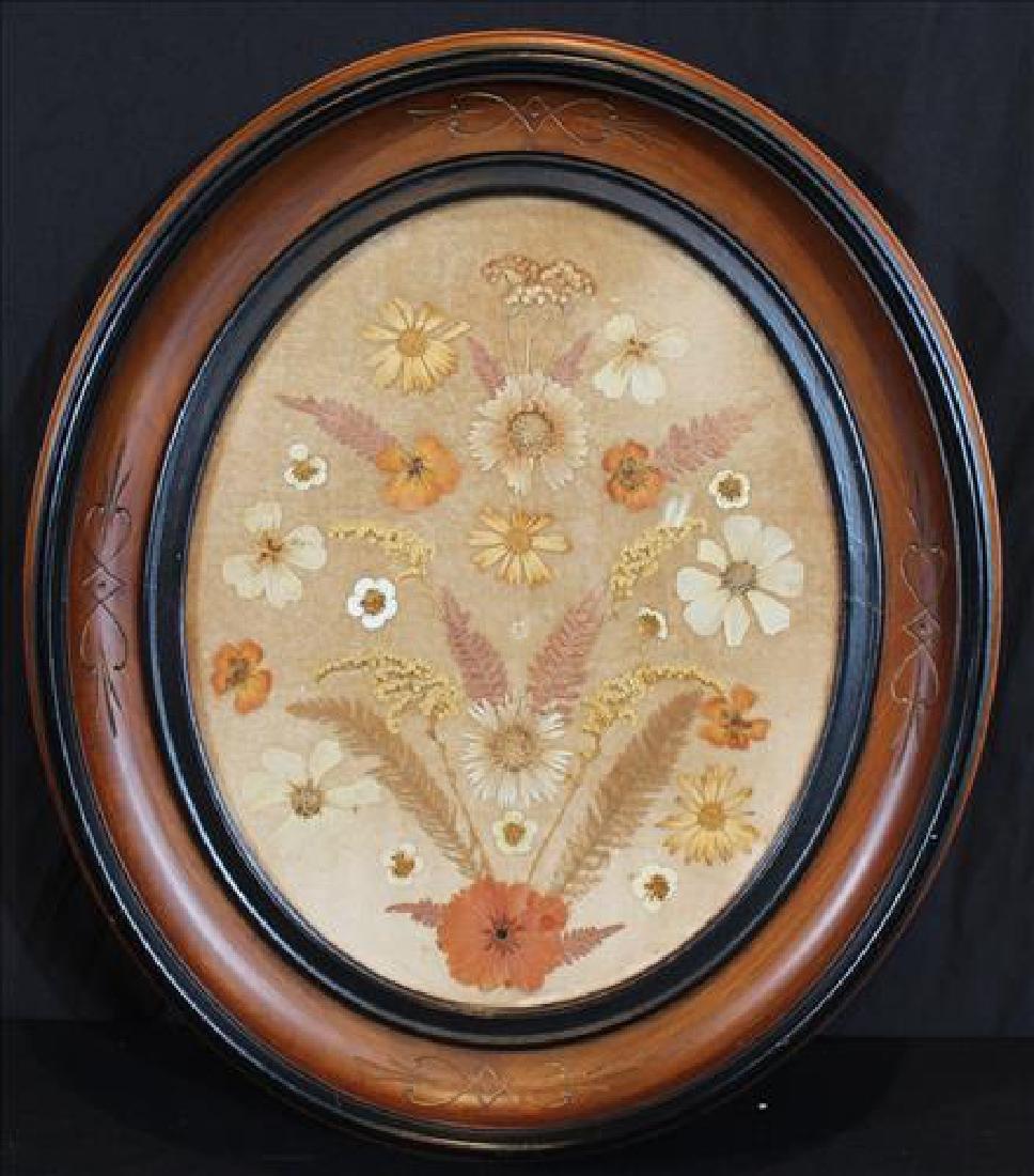 Oval Victorian walnut frame w pressed dried flowers
