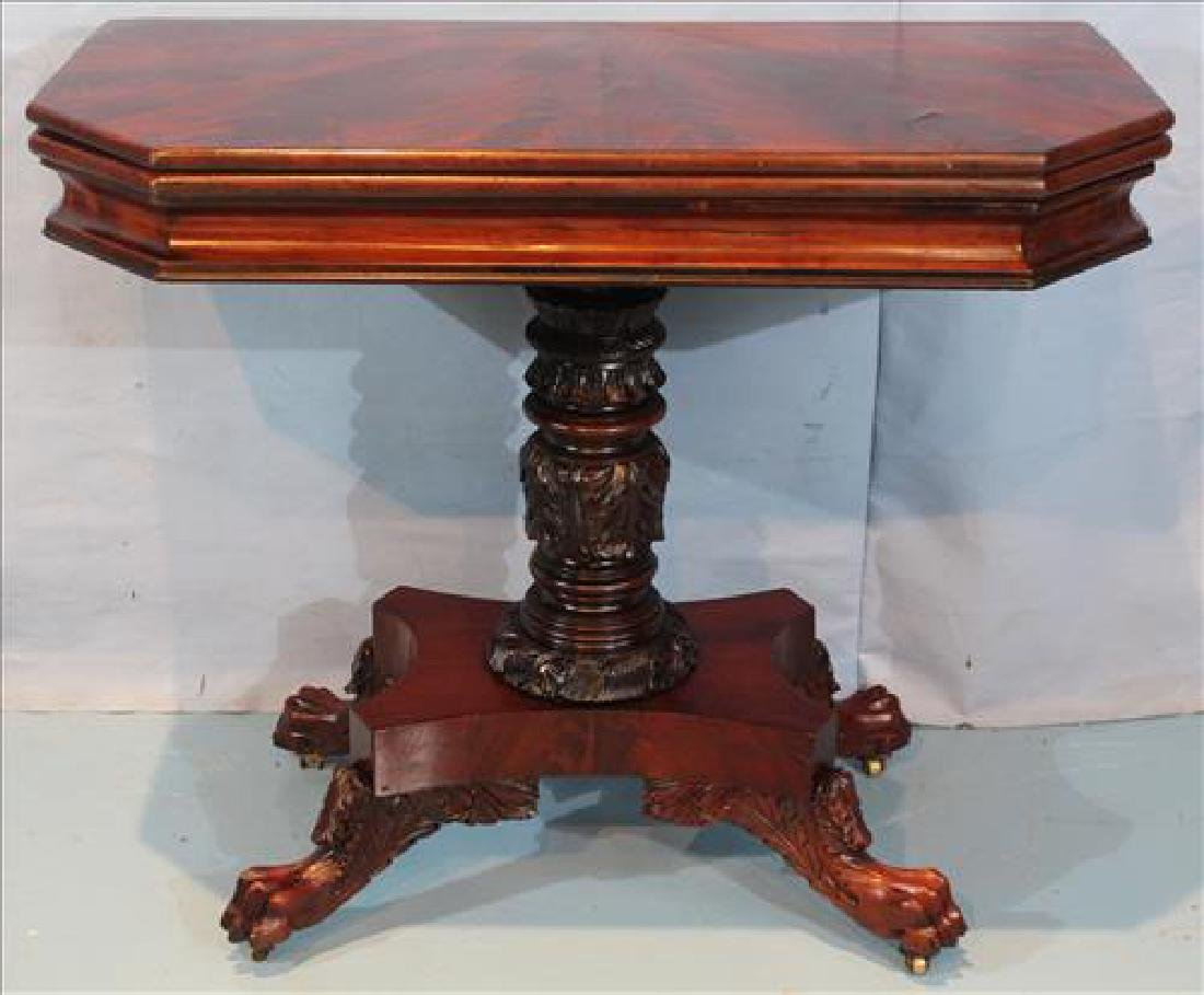 Mahogany Federal game table with acanthus base