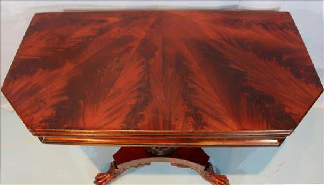 Mahogany Federal game table with acanthus base - 4