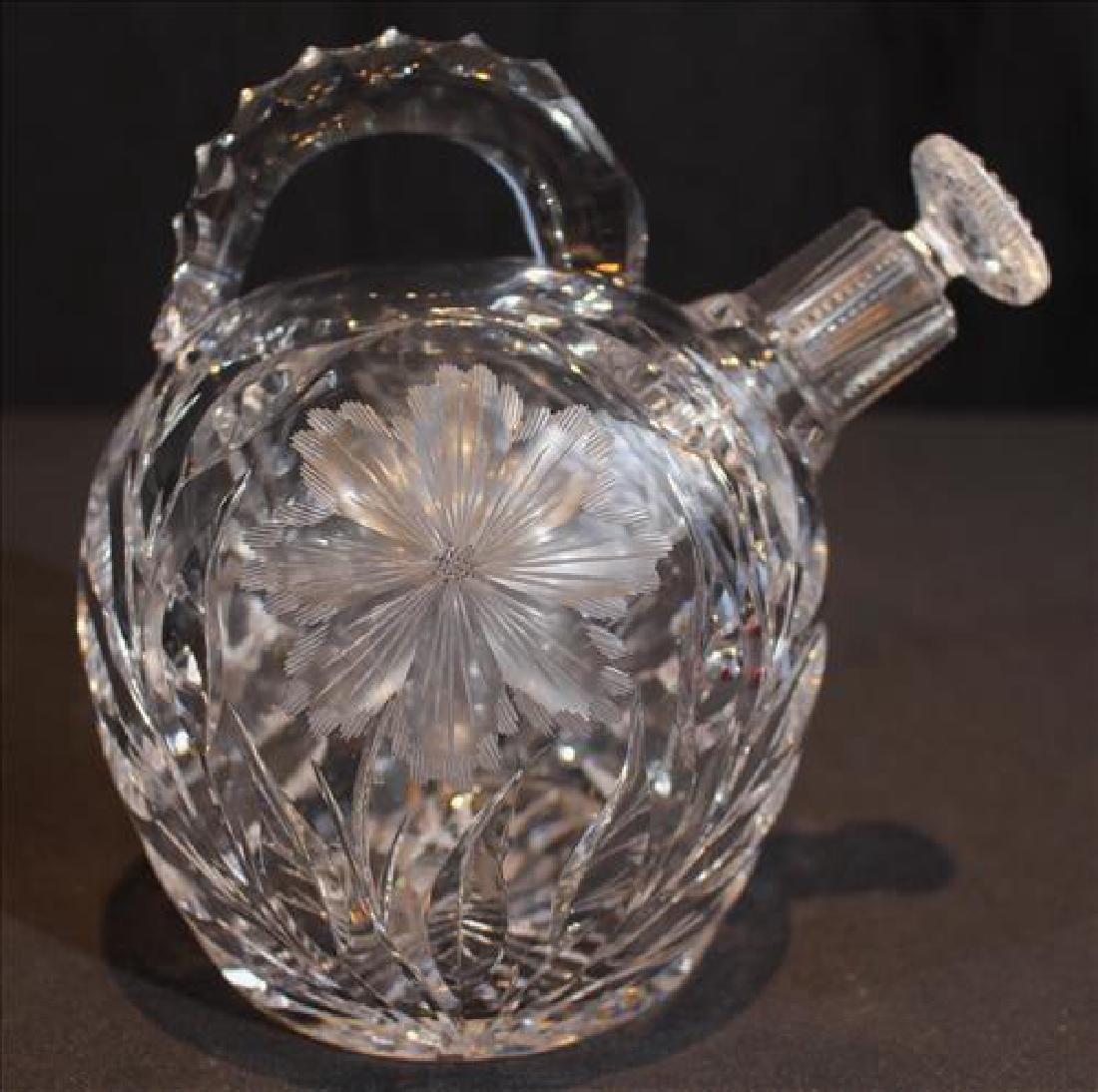 Cut glass crystal liquor jug or decanter with cut