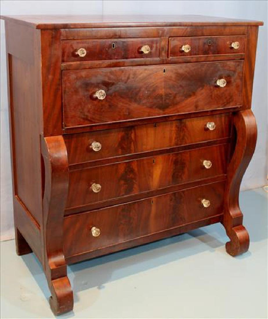 Mahogany Empire 6 drawer chest with scroll front - 2
