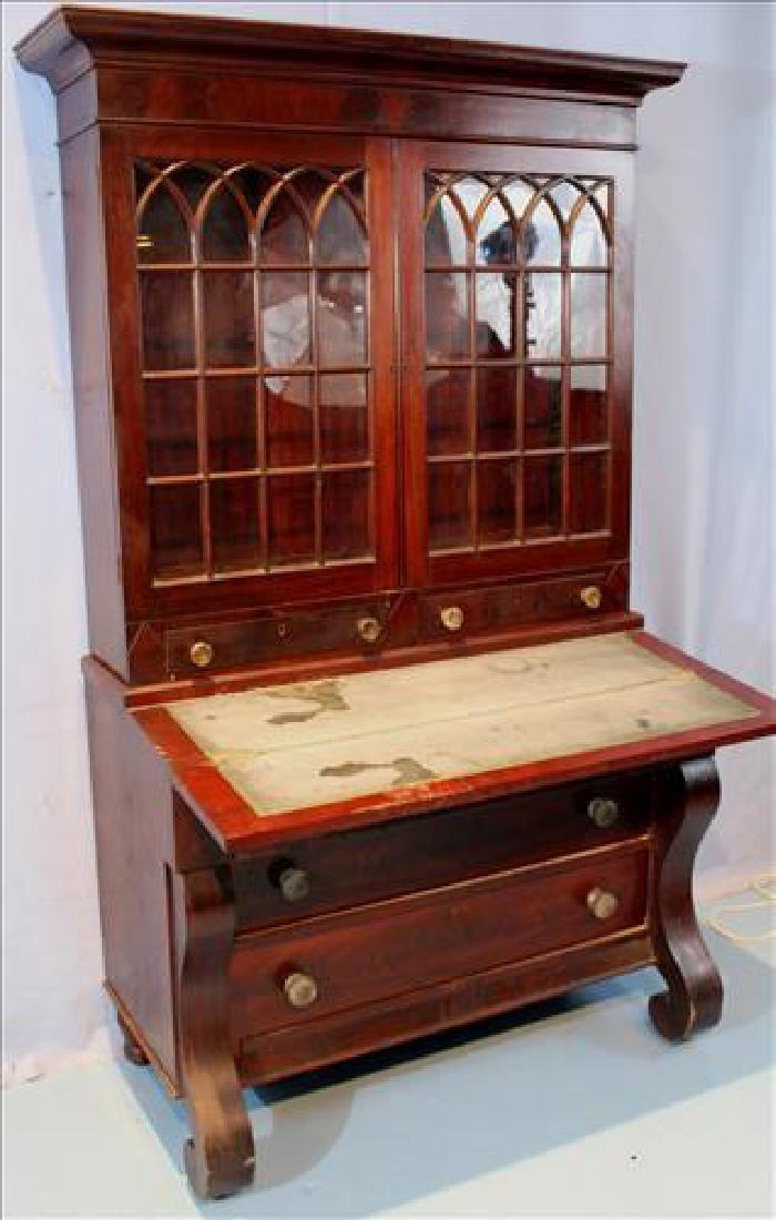 Mahogany Empire slant front secretary desk - 2