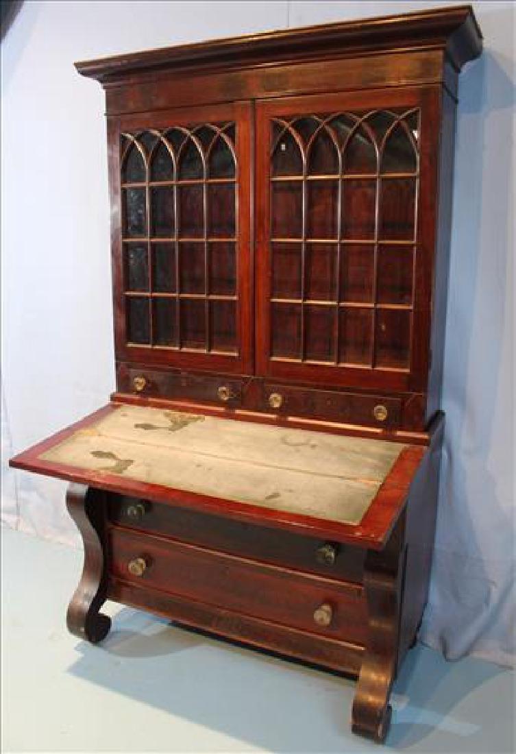 Mahogany Empire slant front secretary desk - 3