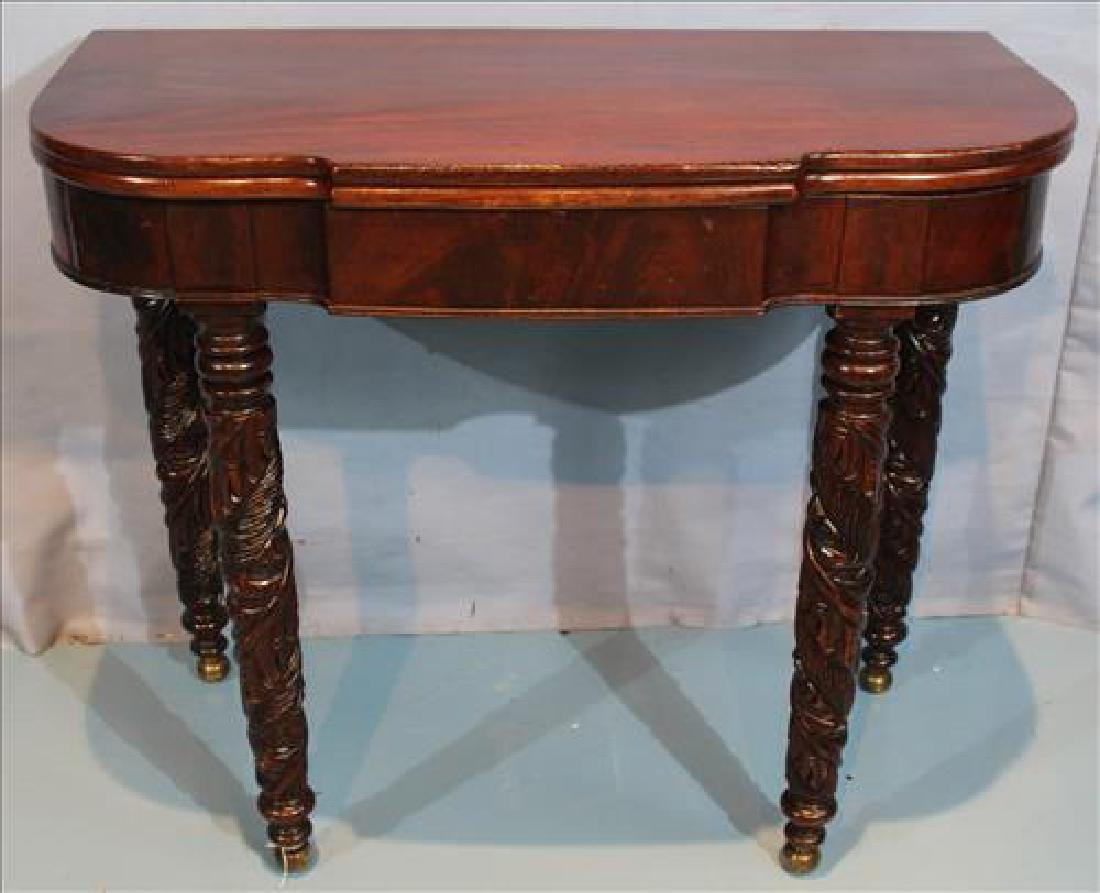 Mahogany Empire game table with acanthus carved legs