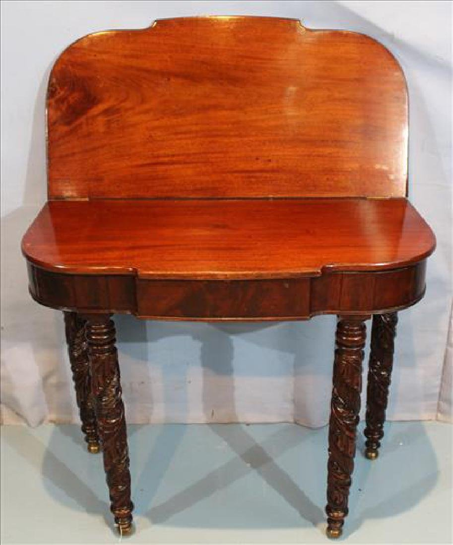Mahogany Empire game table with acanthus carved legs - 2