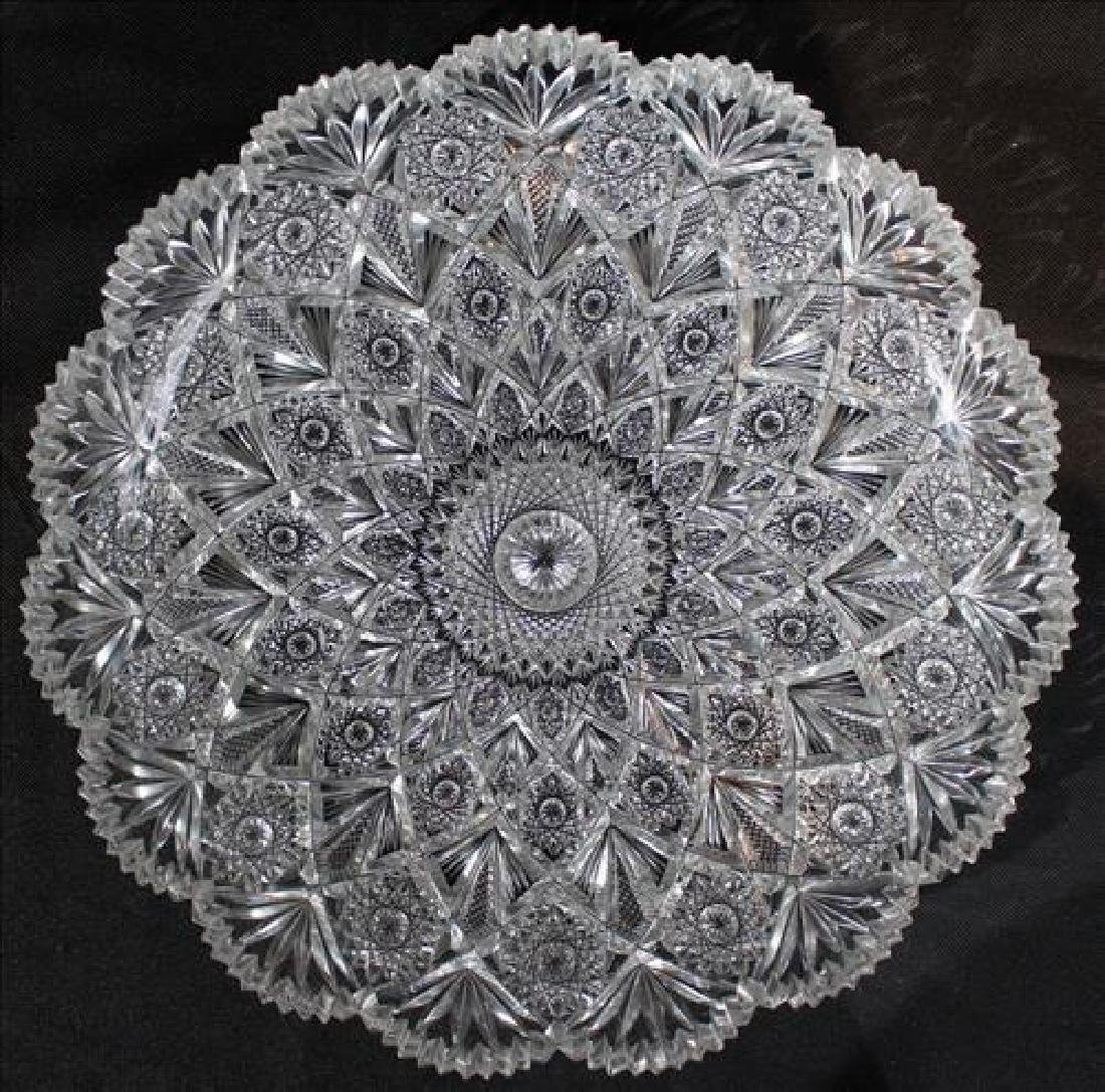 Heavy brilliant cut glass tray, 2 in. T, 10 in Dia. - 2