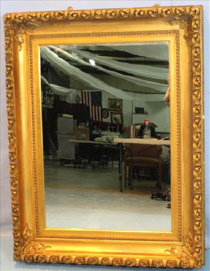 Gold gilded Victorian square hanging mirror, 52.5 in.