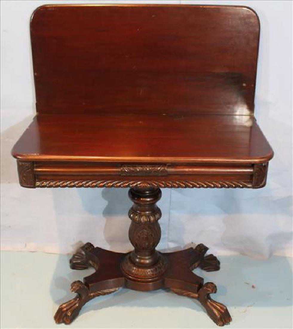 Empire mahogany game table with acanthus base - 2