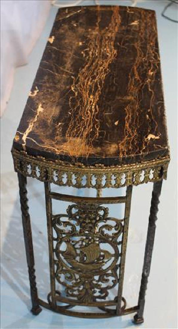 Brass and Egyptian marble side table - 2