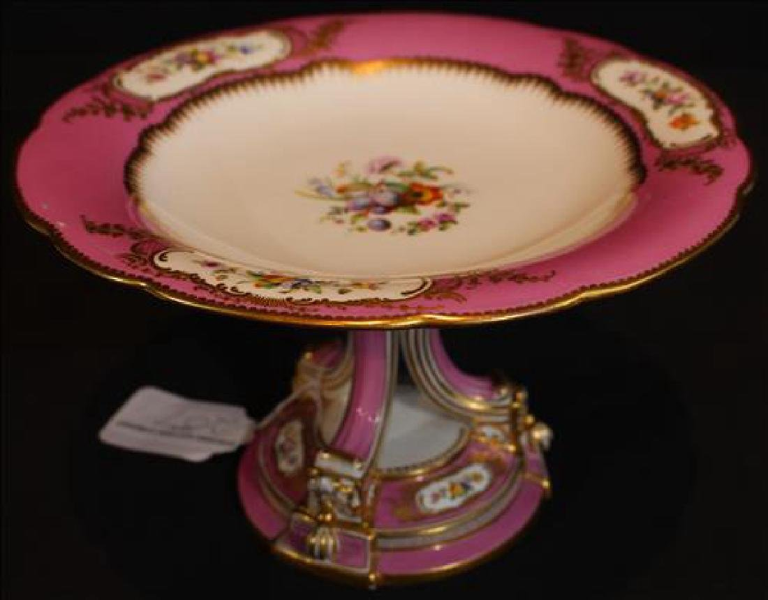 Old Paris madam de Pompadour pink compote, 6 in. T, 10
