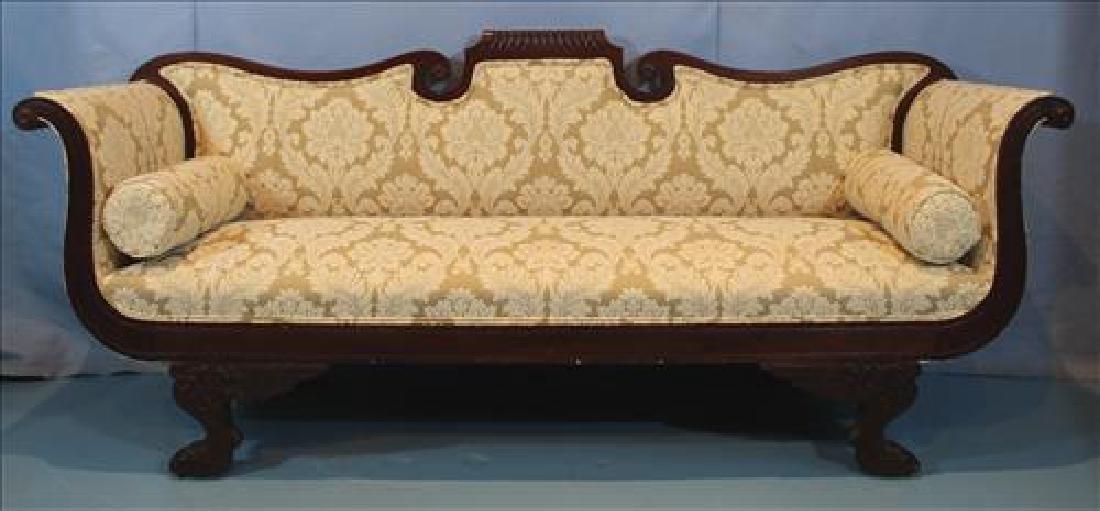 Mahogany Empire parlor sofa with winged feet