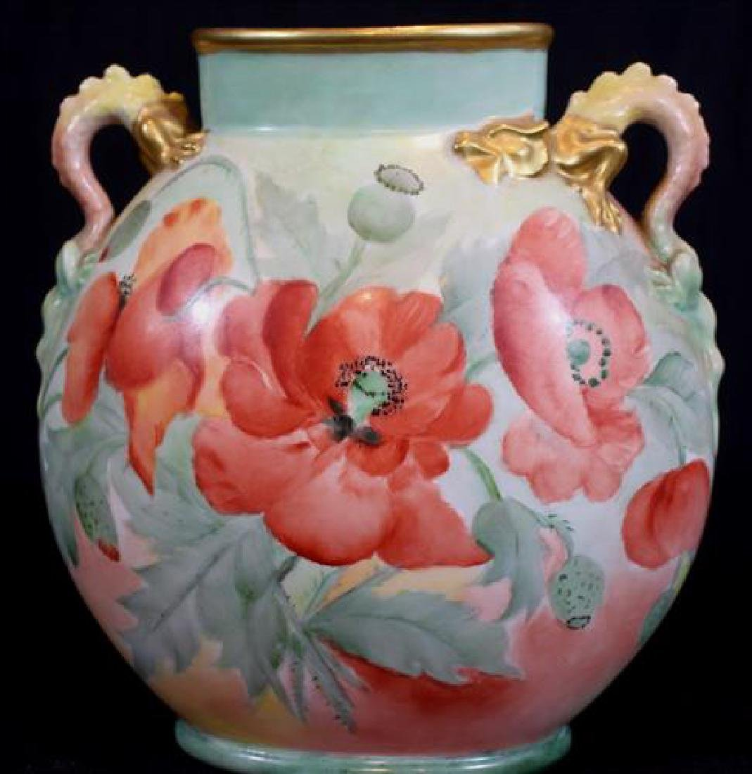 Vase with dragon handles signed Limoges, ca. 1911