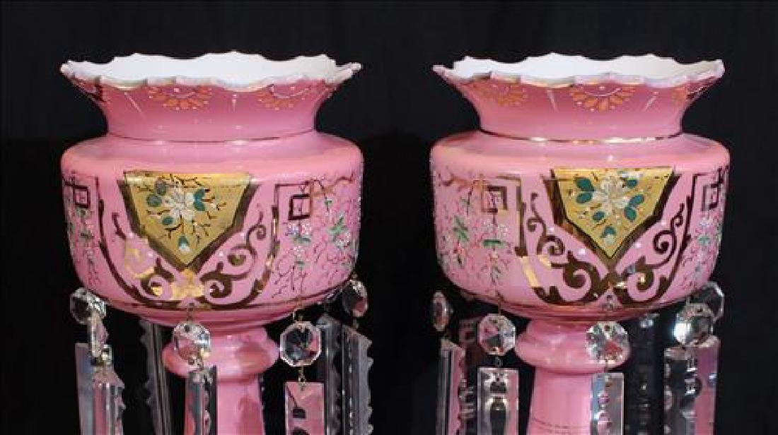 Pair of pink cases glass mantle lusters with gold - 3