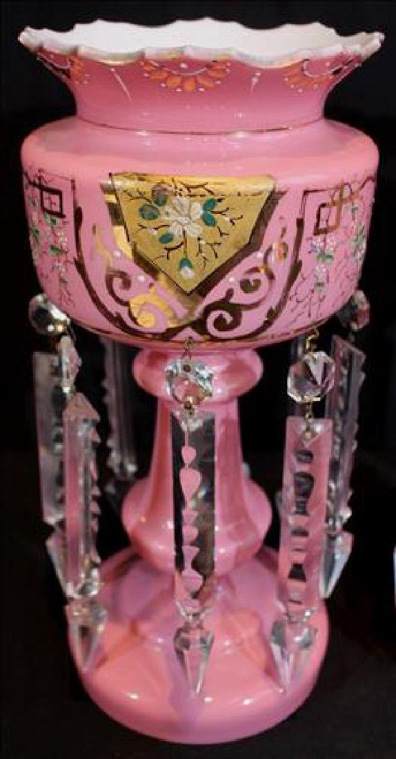 Pair of pink cases glass mantle lusters with gold - 4
