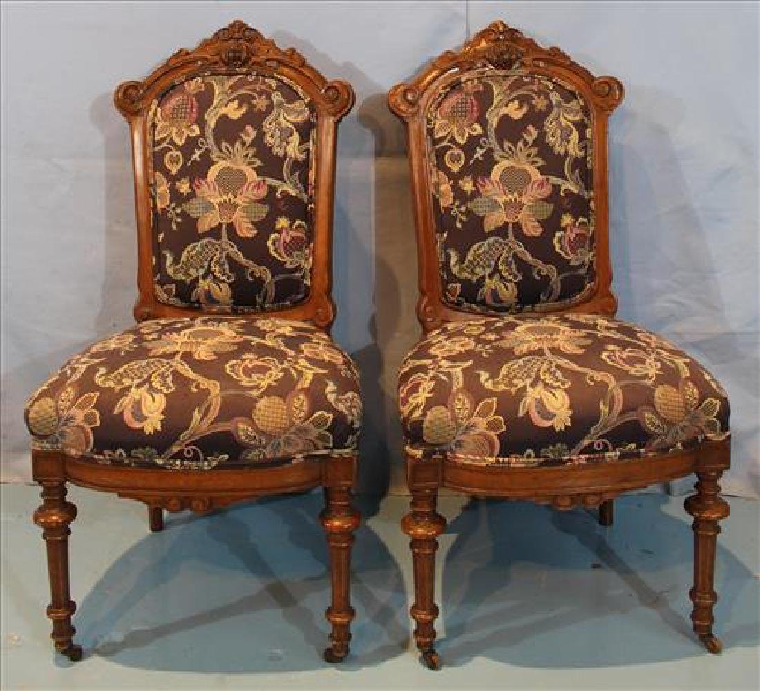 Pair walnut Victorian side chairs with new upholstery