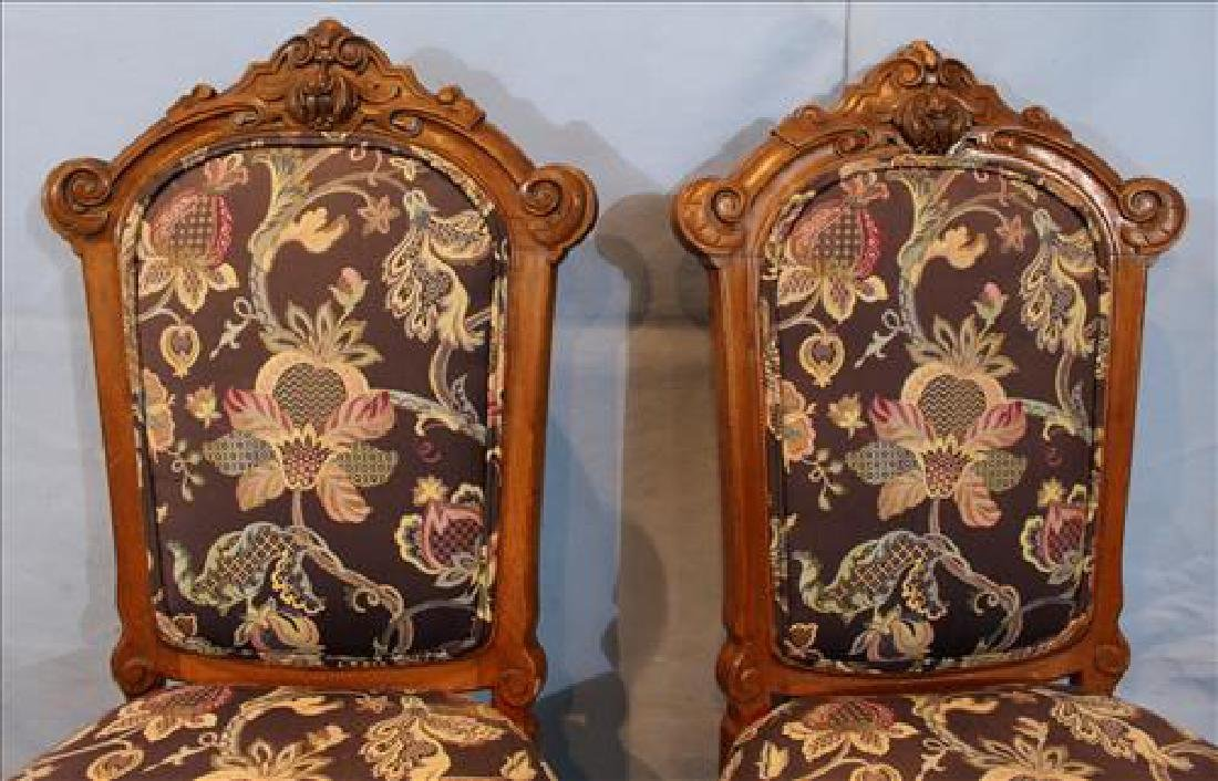 Pair walnut Victorian side chairs with new upholstery - 2