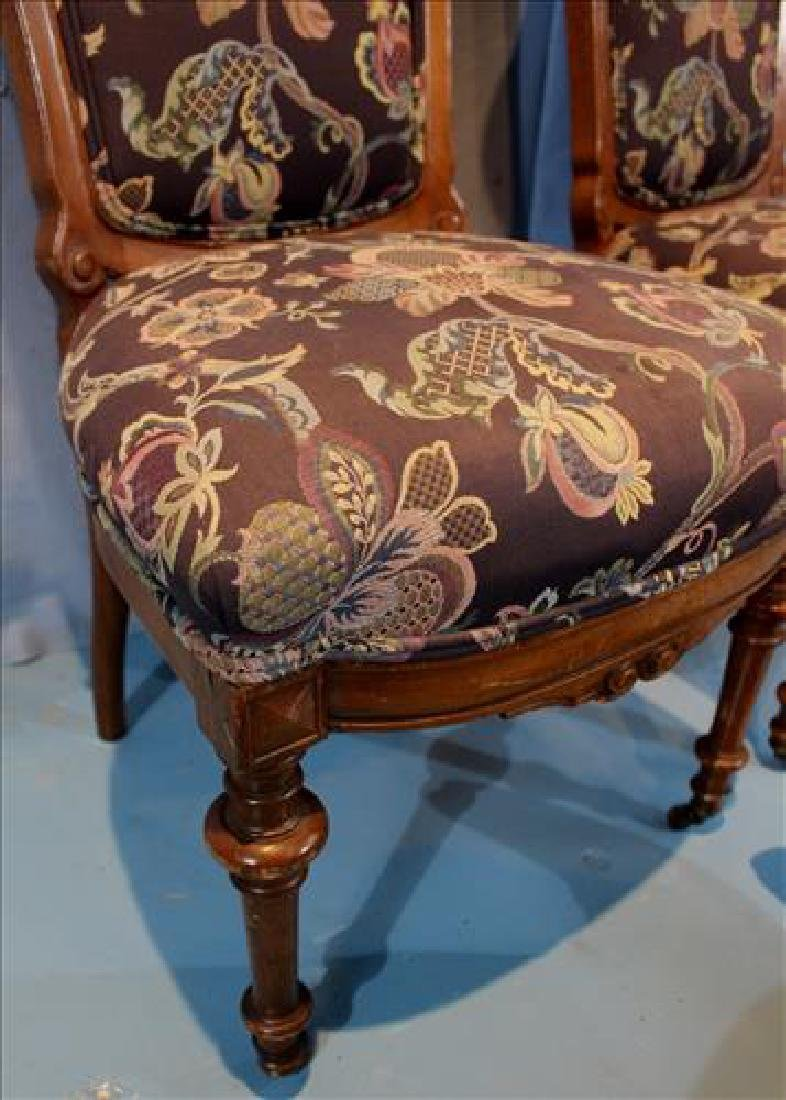 Pair walnut Victorian side chairs with new upholstery - 4