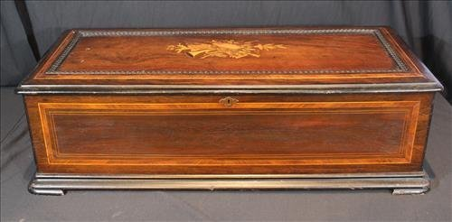 Rosewood inlaid music box by Jacot and Son
