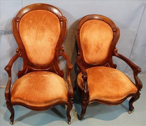 Pair laminated rosewood parlor chairs by J.H. Belter