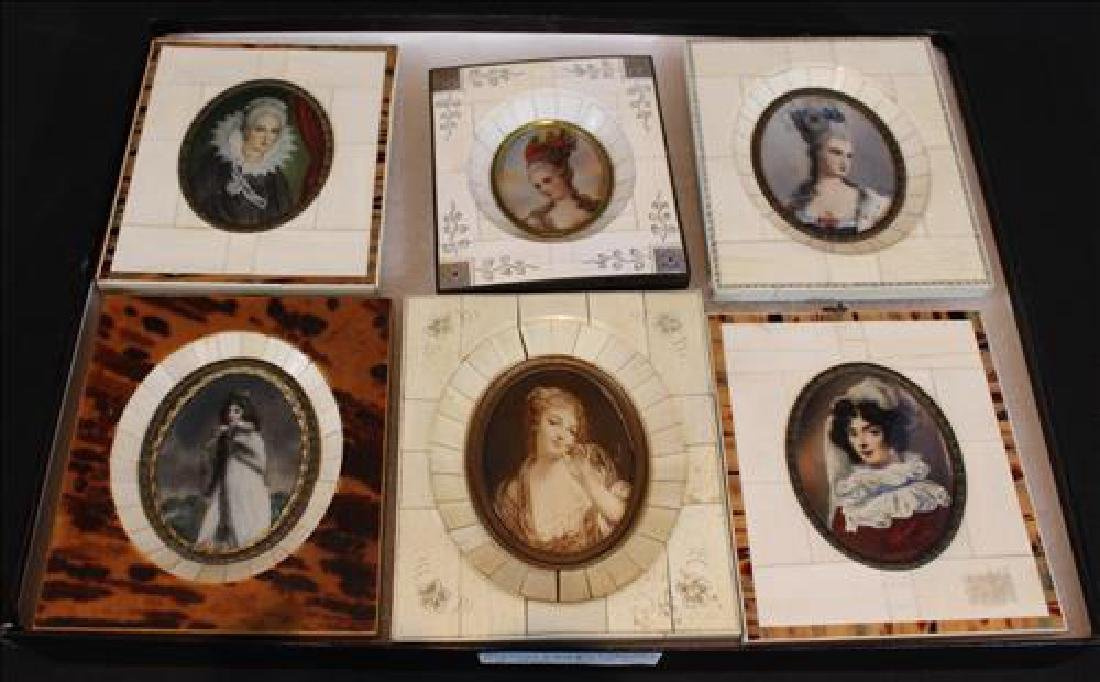 Box of small paintings in old frame, 6 in.