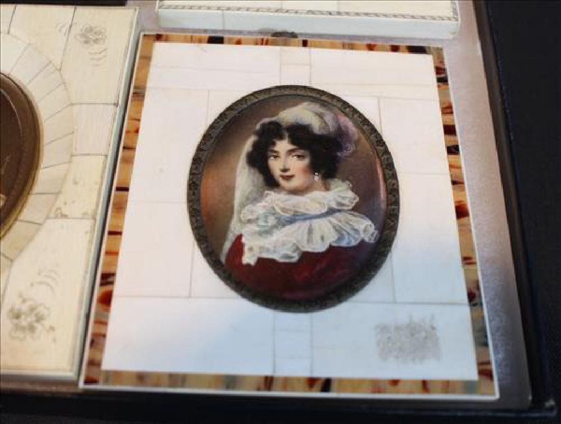 Box of small paintings in old frame, 6 in. - 2