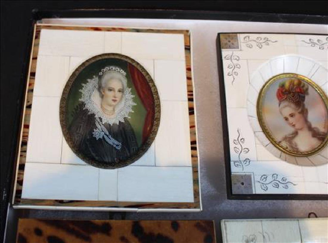 Box of small paintings in old frame, 6 in. - 3