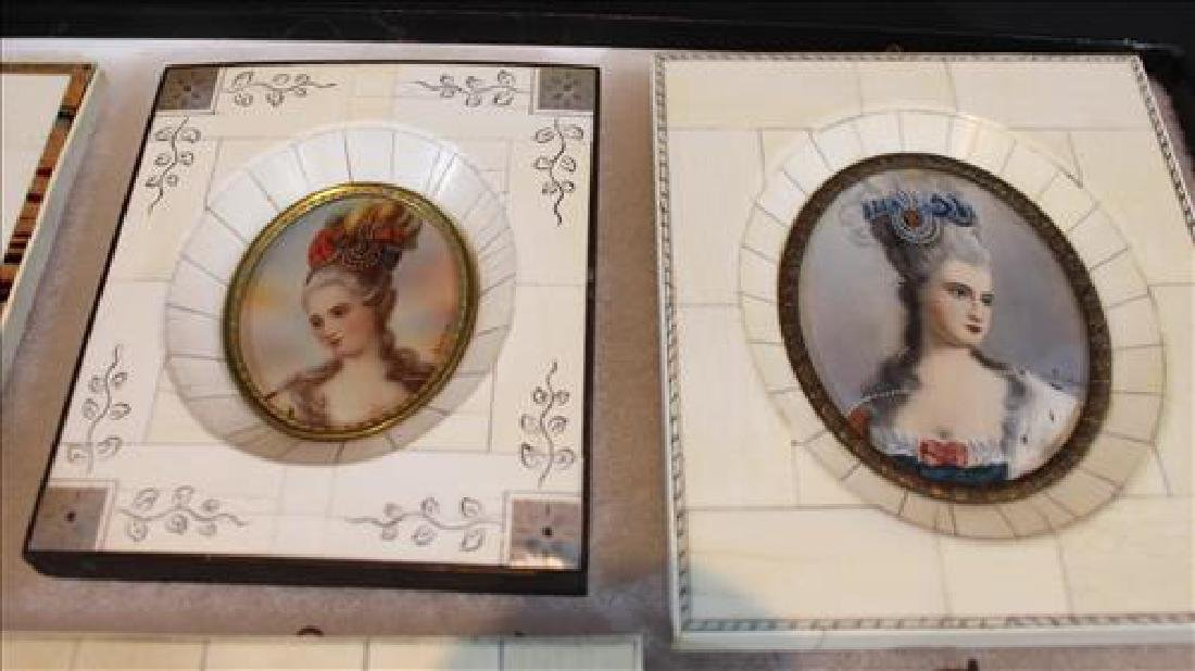 Box of small paintings in old frame, 6 in. - 4